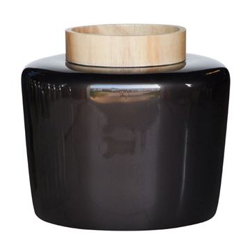 Resim Ahşap Boğazlı Siyah Vazo