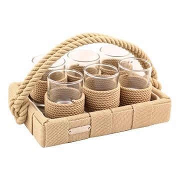Picture of Rope Liquor Set Beige