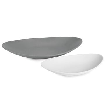 Resim Sushi Oval Kase Seti Beyaz-Gri