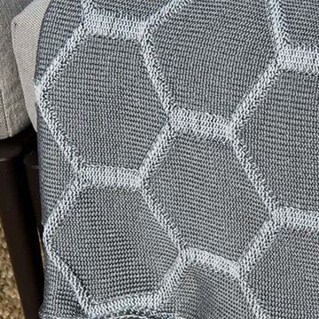 Picture of Trıcot Blanket Gray-White Honeycomb/ White Board