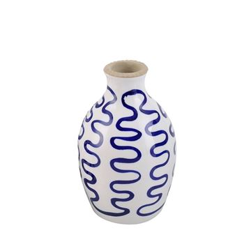Picture of Blue Hand Painted Ceramic Vase 9x15 cm