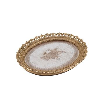 Picture of Antique Yellow Mirror Oval Tray