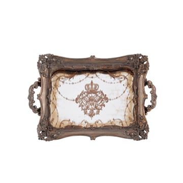 Picture of Antique Yellow Mirror Rectangular Tray
