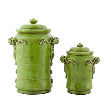 Picture of Handmade Antique Ceramic Green Vase