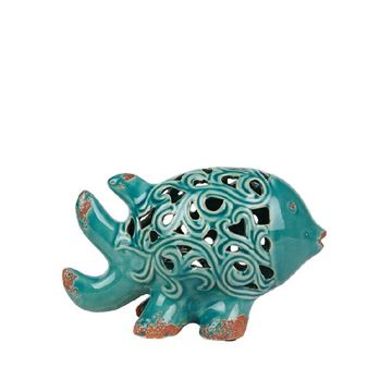 Picture of Turquoise Perforated Stone Fish Decor