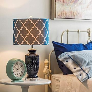Picture of Navy Blue Ceramic Table Lamp
