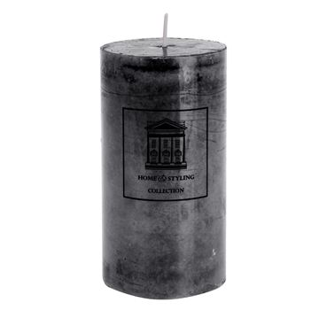 Resim Mermer Görünüm Mum Siyah H:13 cm