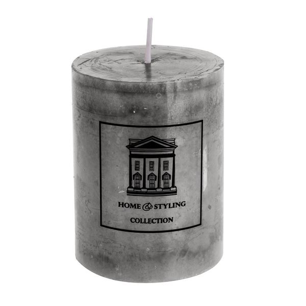 Picture of Marble Finish Candle Grey H:9 cm