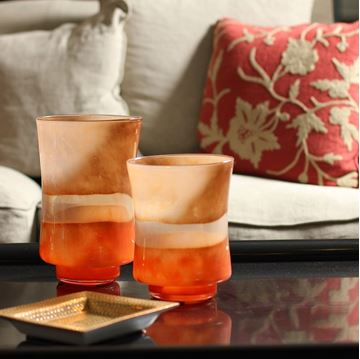 Picture of Orange Glass Candle Holder H:26 cm