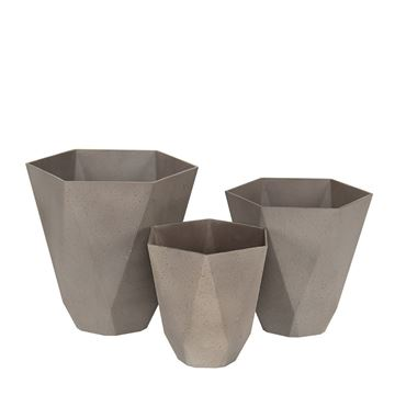Picture of Sandstone Hexagonal Long Pot Brown 29x28 cm