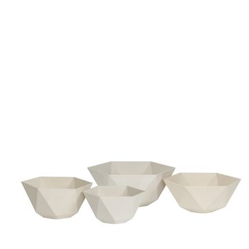 Resim Sandstone Altıgen Saksı Beyaz 29x14 cm