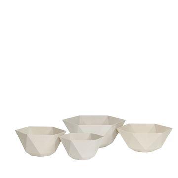 Resim Sandstone Altıgen Saksı Beyaz 35x15 cm