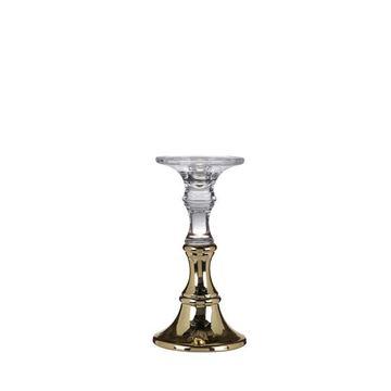 Resim Cam Şamdan Gold H:23 cm