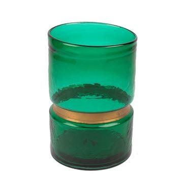 Resim Yeşil Cam Vazo 13x13x20 cm