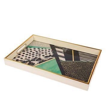 Resim Gold Krem Dikdörtgen Tepsi 30x45 cm