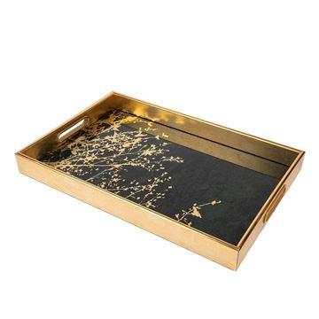 Resim Gold Yeşil Dikdörtgen Tepsi 30x45 cm