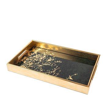 Resim Gold Yeşil Dikdörtgen Tepsi 25x40 cm