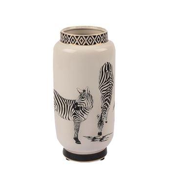 Resim Zebra Seramik Vazo 13x26 cm