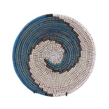 Resim Hasır Duvar Sepeti Kaleı Beyaz/Lacivert-Siyah Q:32 cm
