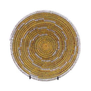 Resim Hasır Duvar Sepeti Kaleı Sarı/Beyaz Çizgili Q:32 cm