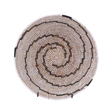 Resim Hasır Duvar Sepeti Kaleı Beyaz/Siyah Çizgili Q:32 cm