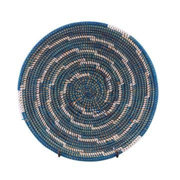 Resim Hasır Duvar Sepeti Kaleı Lacivert/Beyaz Çizgili Q:32 cm
