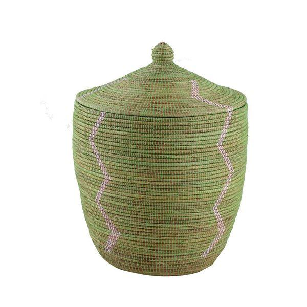 resm Hasır Sepet Zigzag Kapaklı Yeşil/Beyaz Çizgi Q:44 cm