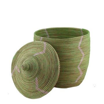 Resim Hasır Sepet Zigzag Kapaklı Yeşil/Beyaz Çizgi Q:44 cm