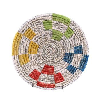Resim Hasır Duvar Sepeti Mozaik Beyaz/Karışık Q:32 cm