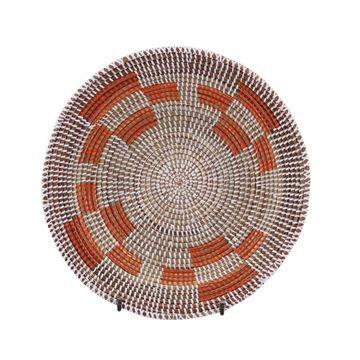 Resim Hasır Duvar Sepeti Mozaik Beyaz/Turuncu Desen Q:36 cm