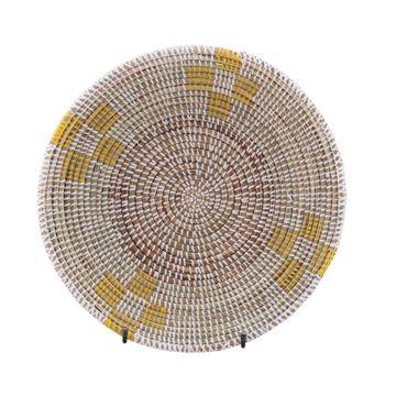Resim Hasır Duvar Sepeti Mozaik Beyaz/Sarı Desenli Q:32 cm