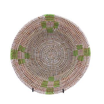Resim Hasır Duvar Sepeti Mozaik Beyaz/Yeşil Desenli Q:32 cm