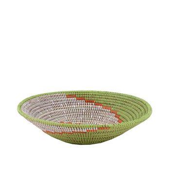 Resim Hasır Duvar Sepeti Kaleı Beyaz/Yeşil-Turuncu Q:32 cm