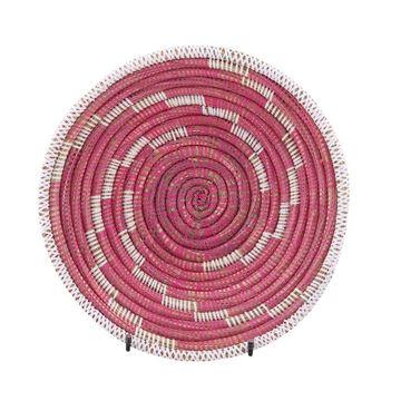 Resim Hasır Duvar Sepeti Kaleı Pembe/Beyaz Çizgili Q:32 cm