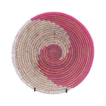 Resim Hasır Duvar Sepeti Kaleı Beyaz/Pembe Q:32 cm