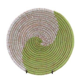 Resim Hasır Duvar Sepeti Kaleı Beyaz/Yeşil Q:32 cm