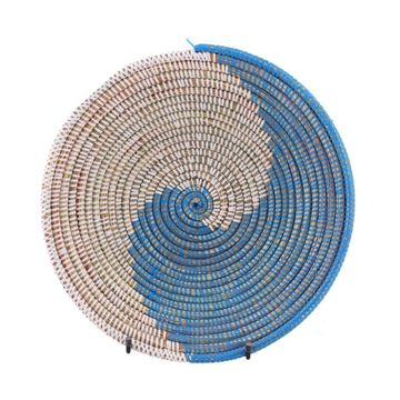 Resim Hasır Duvar Sepeti Kaleı Beyaz/Mavi Q:32 cm