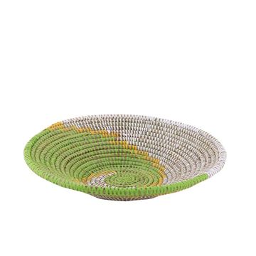 Resim Hasır Duvar Sepeti Kaleı Beyaz/Yeşil-Sarı Q:32 cm