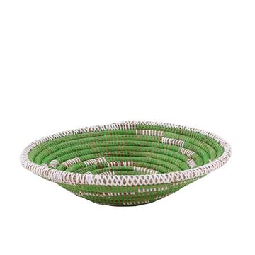 Resim Hasır Duvar Sepeti Kaleı Yeşil/Beyaz Çizgili Q:32 cm