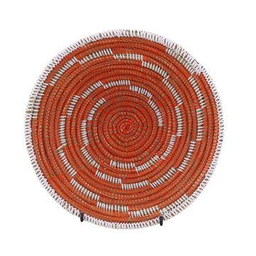 Resim Hasır Duvar Sepeti Kaleı Turuncu/Beyaz Çizgili Q:32 cm