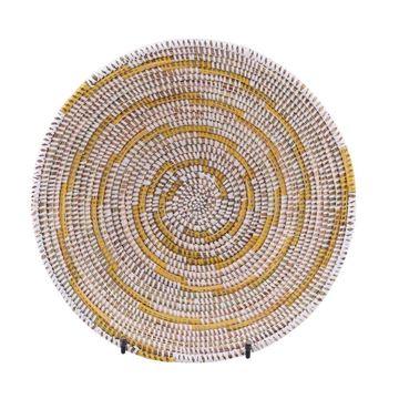 Resim Hasır Duvar Sepeti Kaleı Beyaz/Sarı Çizgili Q:32 cm