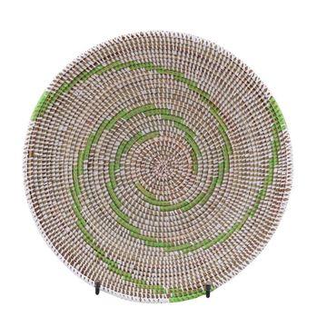 Resim Hasır Duvar Sepeti Kaleı Beyaz/Yeşil Çizgili Q:32 cm