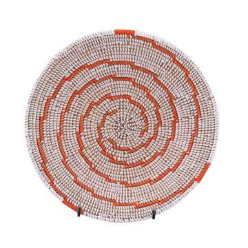 Resim Hasır Duvar Sepeti Kaleı Beyaz/Turuncu Çizgili Q:32 cm