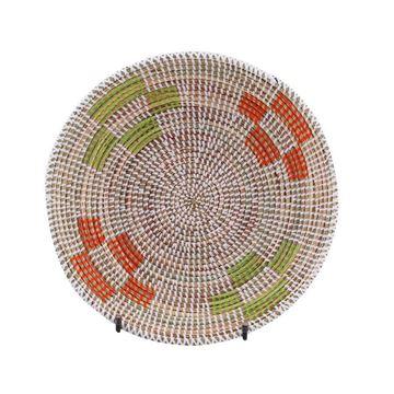 Resim Hasır Duvar Sepeti Mozaik Beyaz/Yeşil-Turuncu Q:32 cm