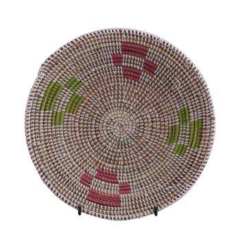 Resim Hasır Duvar Sepeti Mozaik Beyaz/Yeşil-Pembe Q:32 cm