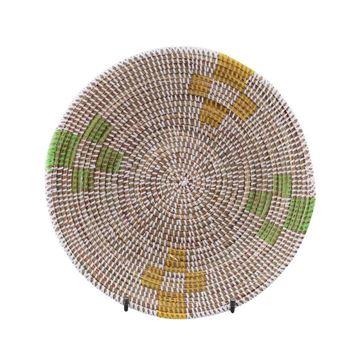 Resim Hasır Duvar Sepeti Mozaik Beyaz/Yeşil-Sarı Q:32 cm