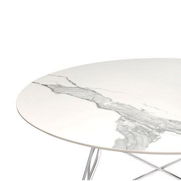 Resim Glossy Yuvarlak Beyaz Masa