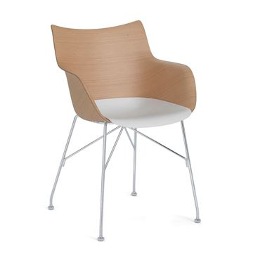 Resim Q/Wood Kollu Sandalye Açık Beyaz/Krom
