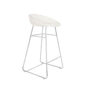 Resim Smatrik Bar Sandalyesi Beyaz/Krom