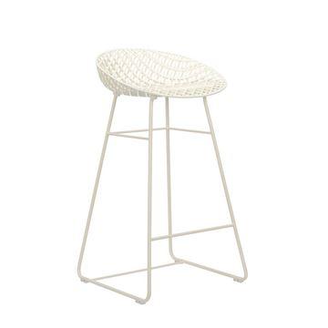 Resim Smatrik Bar Sandalyesi Dış Mekan Beyaz/Beyaz